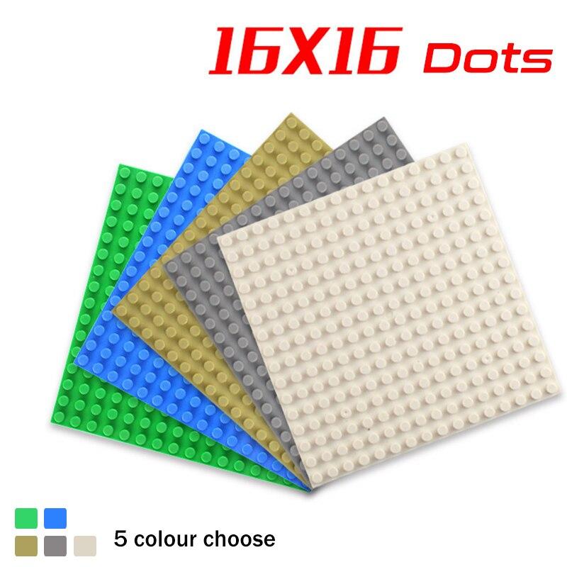 5Colors 16*16 Small Dots Plastic Bricks Base Plate Building Blocks Parts DIY Educational  Figures Floors Best Children Gift Toys