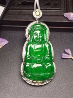 427 Carving Jadite Fine Jewelry Real 18K White Gold Natural Green Jade Gemstone Guanyin Pendant Necklace Fine Pendants