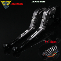Logo ZXR400 Black+Titanium For Kawasaki ZXR 400 ZXR400 all years CNC Folding Extendable Motorcycle Brake Clutch Levers