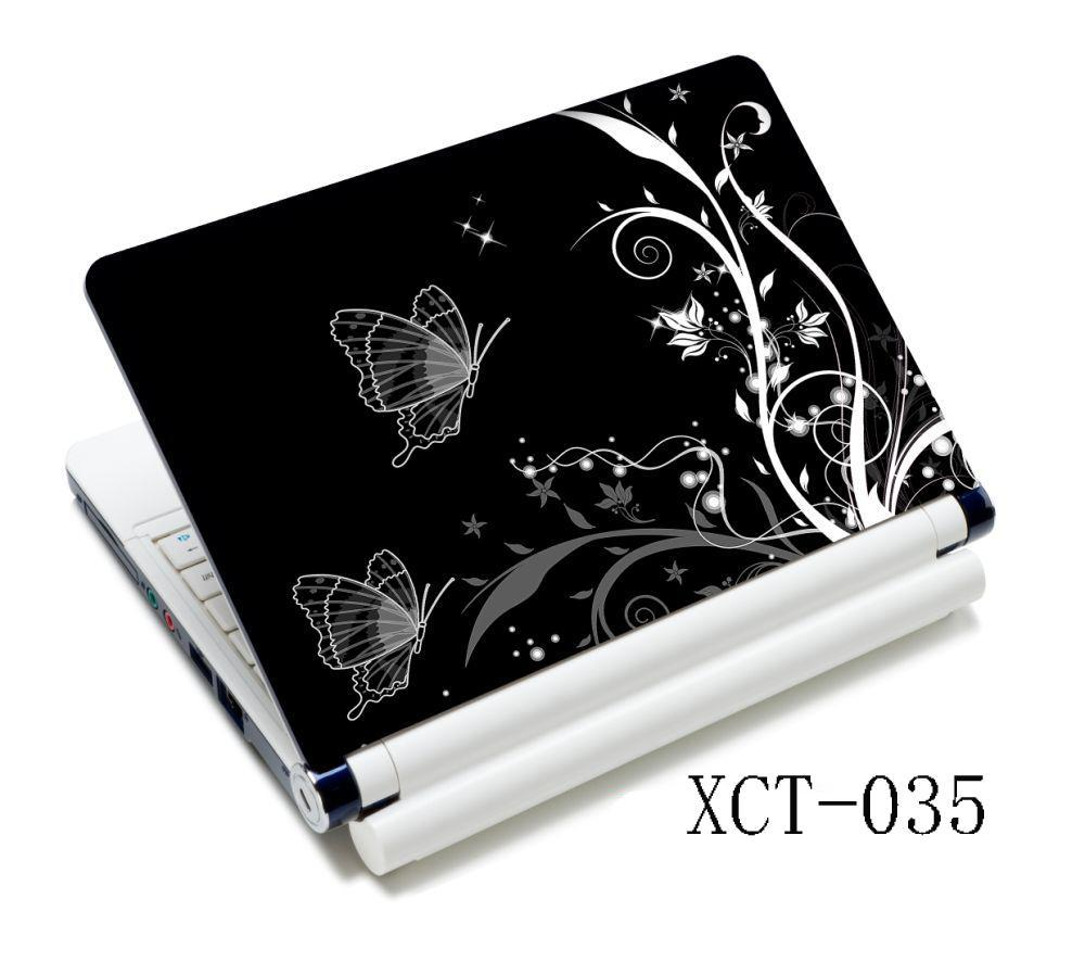 White Black Butterfly Flowers <font><b>15.6</b></font> Universal <font><b>Laptop</b></font> <font><b>Skin</b></font> Cover Sticker Decal For HP Acer Dell <font><b>ASUS</b></font> Apple Sony image