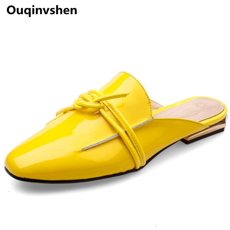 Ouqinvshen Butterfly-knot Slippers Women Square Toe Genuine Leather Plus Size 34-42 Yellow Black Summer Shoes Fashion Mules Shoe slippers women genuine leather peep toe slip on mules for women red square heels summer womens shoes plus size kakx01 muyisexi