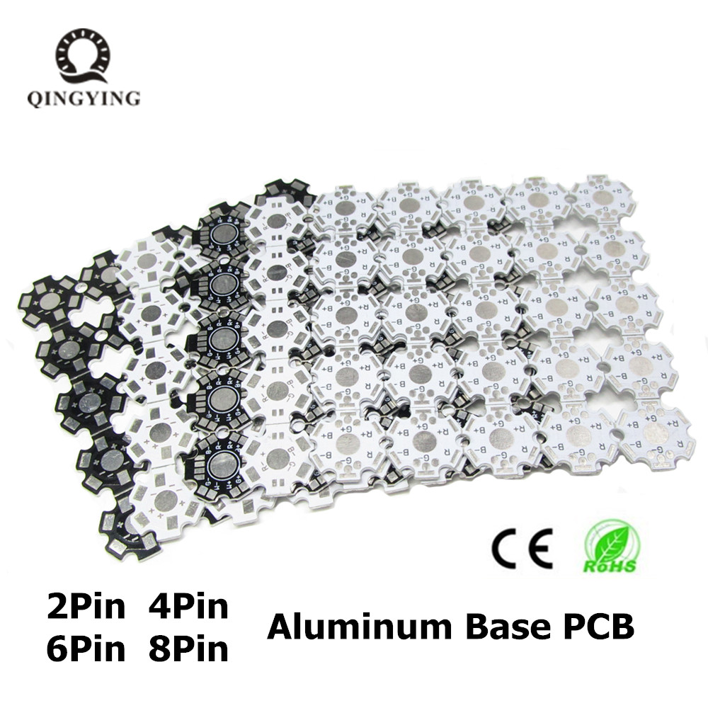1W 3W 5W LED PCB Board 20mm White Black LED Aluminum Heat sink Base Plate 2pin 4pin 6pin 8pin For High Power LED maitech 1w 3w 5w led energy saving lamp beads aluminum plate silver black 10 pcs