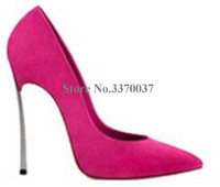 High Quality Women Fashion Pointed Toe Suede Leather Metal Heel Pumps 10cm 12cm Stiletto Heels Formal Dress Shoes Club Shoes