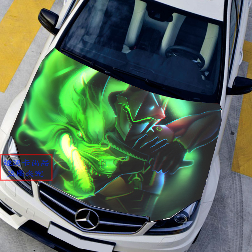 Car accessories japanese car stickers decals 3d anime game overwatch genji hood sticker auto roof dragon