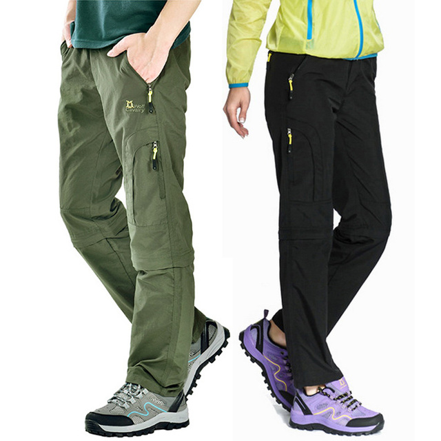 adc53c43dd Nylon Removable Waterproof Hiking Pants Women/Men Quick Dry Trousers  Mountain/Camping/Trekking