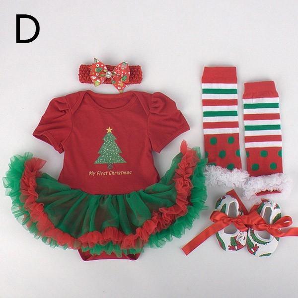 Algodão 1 conjunto Baby Girl bebê infantil roupas das meninas trajes do natal jumpersuit infantil + meias + band + sapatos frete grátis