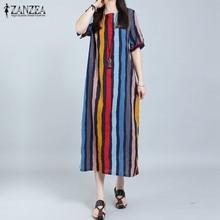 Fashion ZANZEA Summer Women Short Sleeve Long Maxi Dress Boho Casual Loose O Neck Striped Dresses Vestido De Festa Plus Size