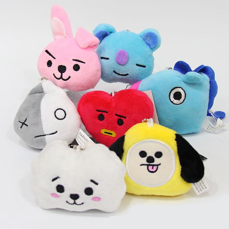 New Kpop Bangtan Boys Bts Bt21 Same Plush Key Chain Key Ring Toy Q Back Doll 8cm Bag Pendant Tata Van Cooky Chimmy Shooky Bright In Colour Women's Clothing