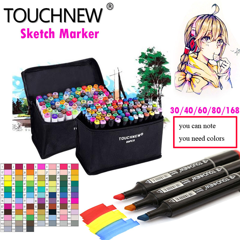Touchnew 30/40/60/80/168 Colors Art Markers Set Alcohol Oily Base Sketch Markers Pen For Drawing Animation Manga Supplies promotion touchfive 80 color art marker set fatty alcoholic dual headed artist sketch markers pen student standard