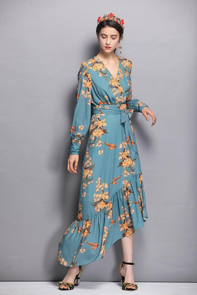 À Mode Femmes Manches Nouvelle Imprimer Cou Plus Longues Vêtements Ceintures Vintage Asymétrique De Empire As Arrivée V 2018 Taille Robe Pic Sexy zUwqvvx