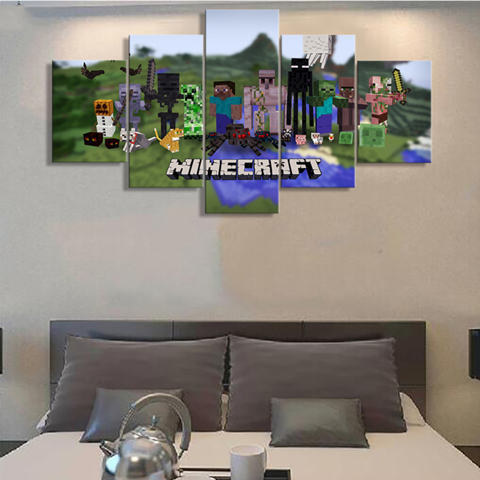 Minecraft Living Rooms: Modular Pictures Wall Art Home Decoration 5 Panel Game