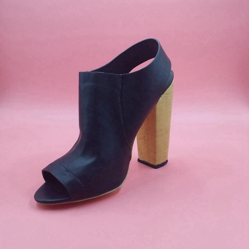 Women Slingbacks Pumps Peep Toe Square Gold High Heels Back Strap Slip-on Black  Leather Summer Fashion Show Ladies Shoes 288f060a2
