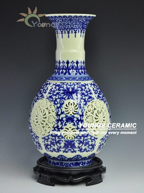 Starožitné umění Čínská ručně vyráběná bílá keramická váza dutá váza