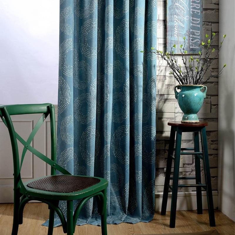 hot sale luxury customized polyester linen cotton blue printing door decoration window groment drape curtain fabric