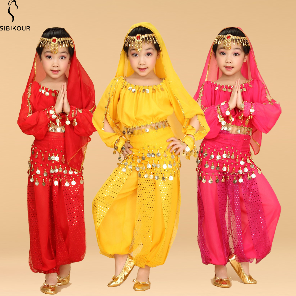 Bollywood Belly Dance Costume Set For Kids Egypt Egyptian Oriental Indian Belly Dance Suit For Girls Dress 120D Chiffon Top Pant