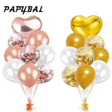 1set 12inch Rose Gold Confetti Latex Balloons Inflatable Air Helium Balloon For Baby Birthday Wedding Party Supplies