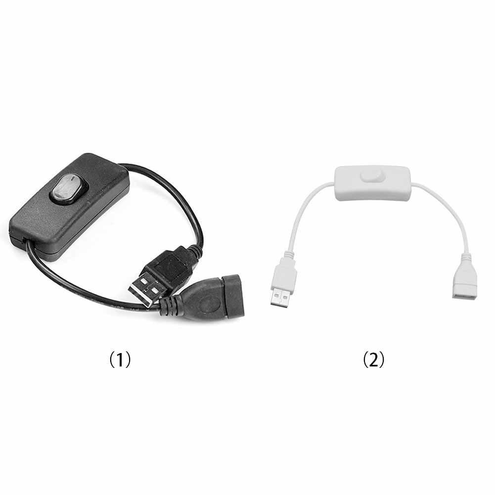 جديد كابل يو اس بي جديد 28 سنتيمتر USB 2.0 ذكر إلى أنثى تمديد موسع كابل أسود مع التبديل على إيقاف كابل #2