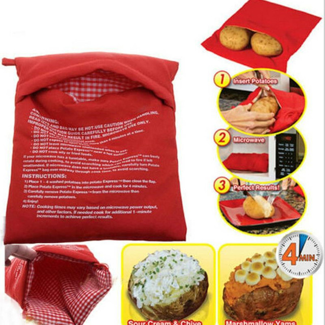 Red Potato Bag Microwave Potatoes Baking Cooker Washable Baked Rice Pocket Easy