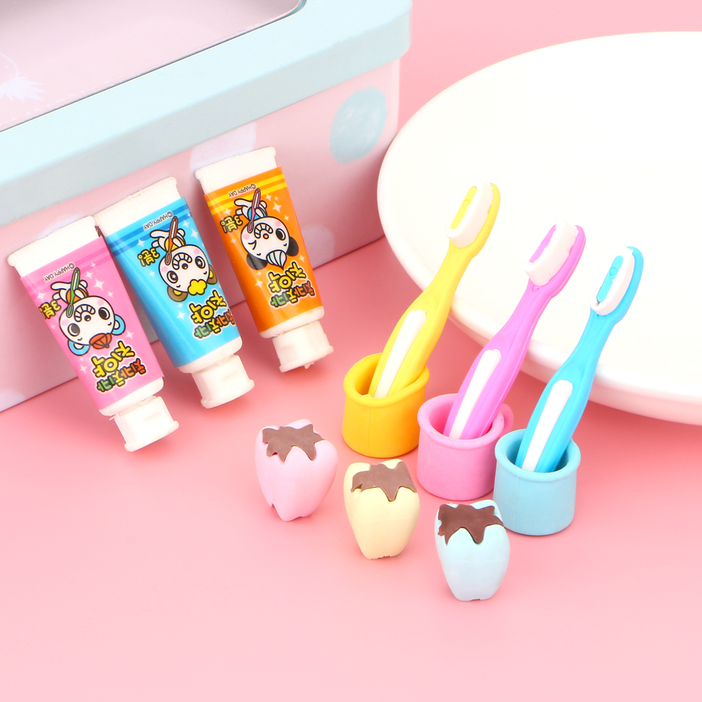 4Pcs/set creative Pencil Eraser Toothpaste tooth brush cup cute Eraser Gifts for kids free shipping