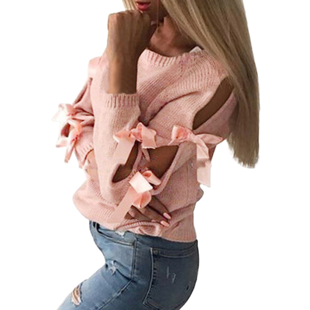 2019 Sweater Women Casual Solid Bow Tie Pullover Loose Sweater Jumper Tops Knitwear Sueter Mujer Invierno Pull Femme Pullover 2