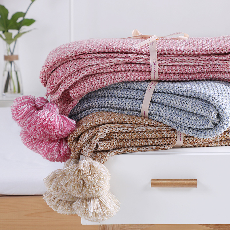 1PCS kids baby Blanket Solid Color Crochet Tassel Blanket Knitted Soft Throw Blankets on Sofa/Bed/Plane Travel Air Conditioning