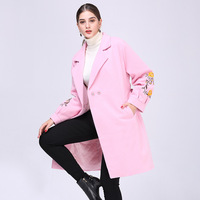New Solid Womens Long Coats 2018 Winter Single Button Elegant Wool Blend Coat and Jacket Full Sleeve Ladies Coats