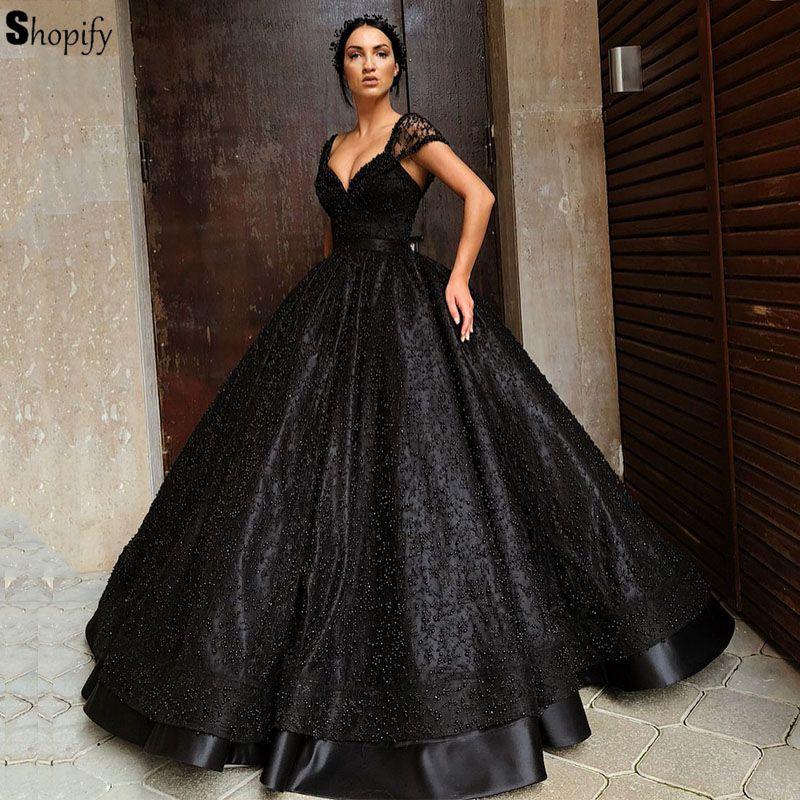 Long Puffy Evening Dress 2019 Sexy Cap Sleeve Luxury ...