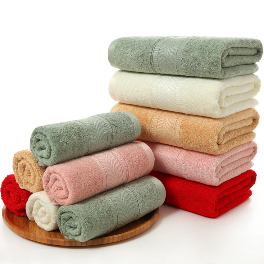100% Bamboo Towels Soft Face Bath Towel Set Thick Solid Color Herringbone Pattern  Bamboo Fiber Bathroom Towels For Adults