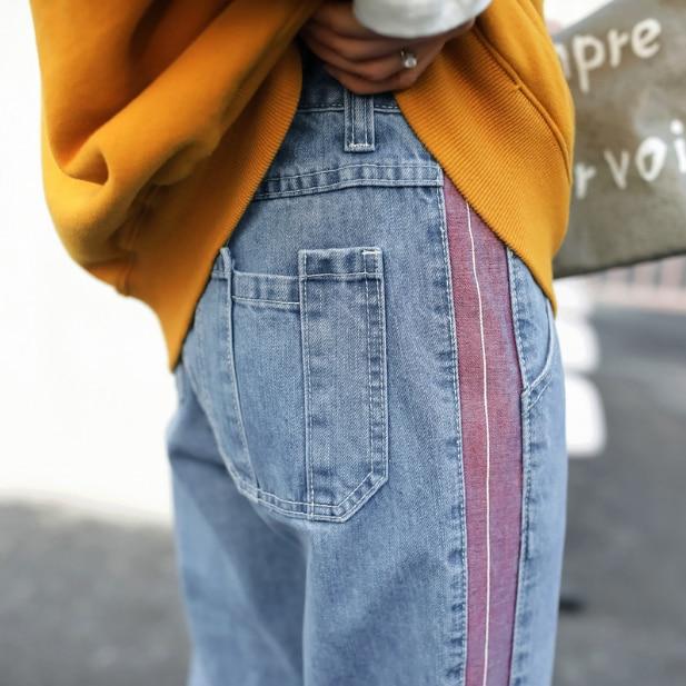 Harem Denim Jeans Side Purple Stripe Streetwear Button Zipper Fly Gloria Jeans Pantalones Washed Blue Full Length 5