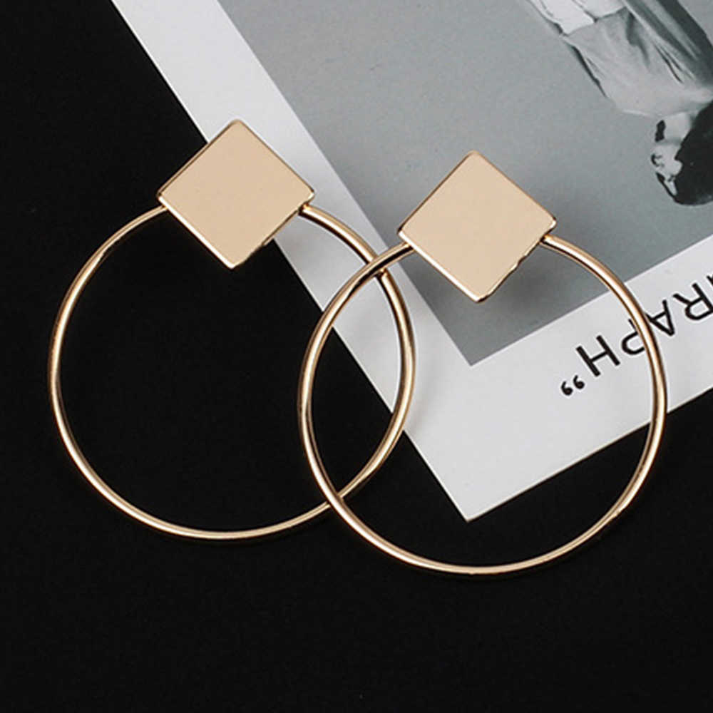 IPARAM Simple Style Fashion Silver Gold Color Earrings for Women Square Round Geometric Hanging Earrings 2018 Female Jewelry