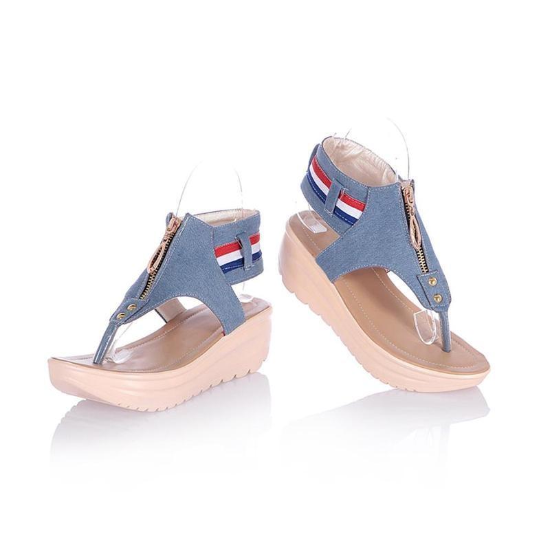 Wedges Shoes For Women High Heel Summer Ladies Gladiator Sandals Woman Platform Cowboy Zipper Sandalias Mujer 2018 hj98 4