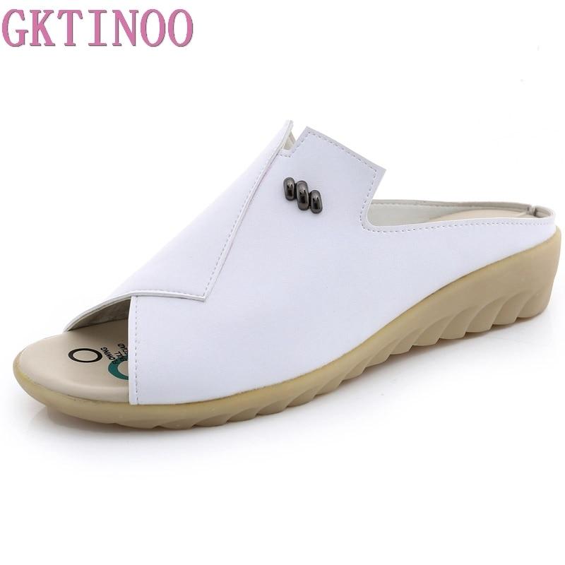 GKTINOO Women Slipper Flat Sandals Geunine Leather Peep toe Female Sandals Ladies Mules cl