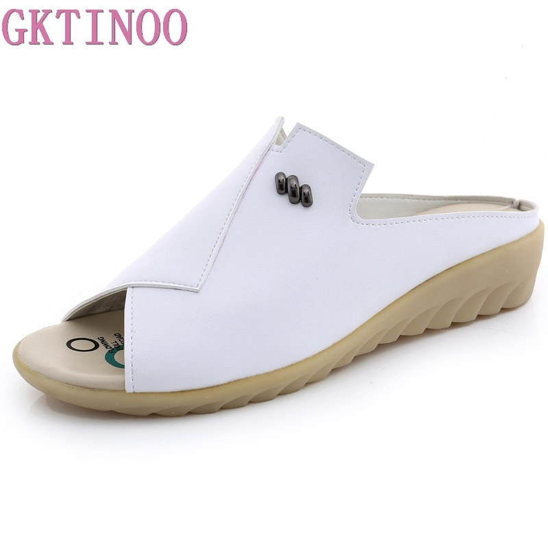 GKTINOO Women Slipper Flat Sandals Geunine Leather Peep toe Female Sandals Ladies Mules clogs Summer Shoes Big Size 34 43
