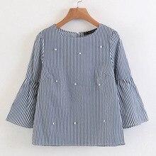 494149968a Elegantes camisas rayadas con cuentas de perlas de manga acampanada elegante  Blusa de manga tres cuartos de moda casual para dam.