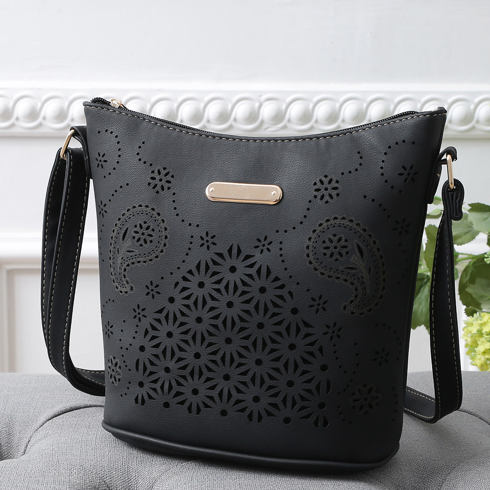 Womens Fashion Openwork Shoulder Bag  Female Leather Purse Satchel Cross Body Hollow Out Messenger Bags Сумка