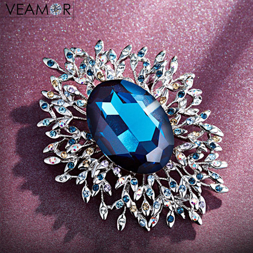 Veamor flower brooches for women silver color crystal from Australia brooch pins fashion jewelry все цены