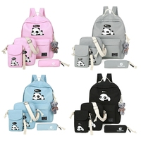 4pcs Shoulder Bag Women's Backpack Cute Panda Print Rucksack Travel Schoolbags