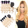 Ombre Blonde Brazilian Hair 8A Brazilian Body Wave Virgin Hair Two Tone Ombre Weaves T1b/613 Dark Roots Human Hair With Closure