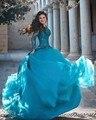 Venda quente Azul Tulle Mangas Compridas Colher vestido de Baile Quinceanera vestidos 2017 apliques de contas zipper voltar sweet vestido para 15 16