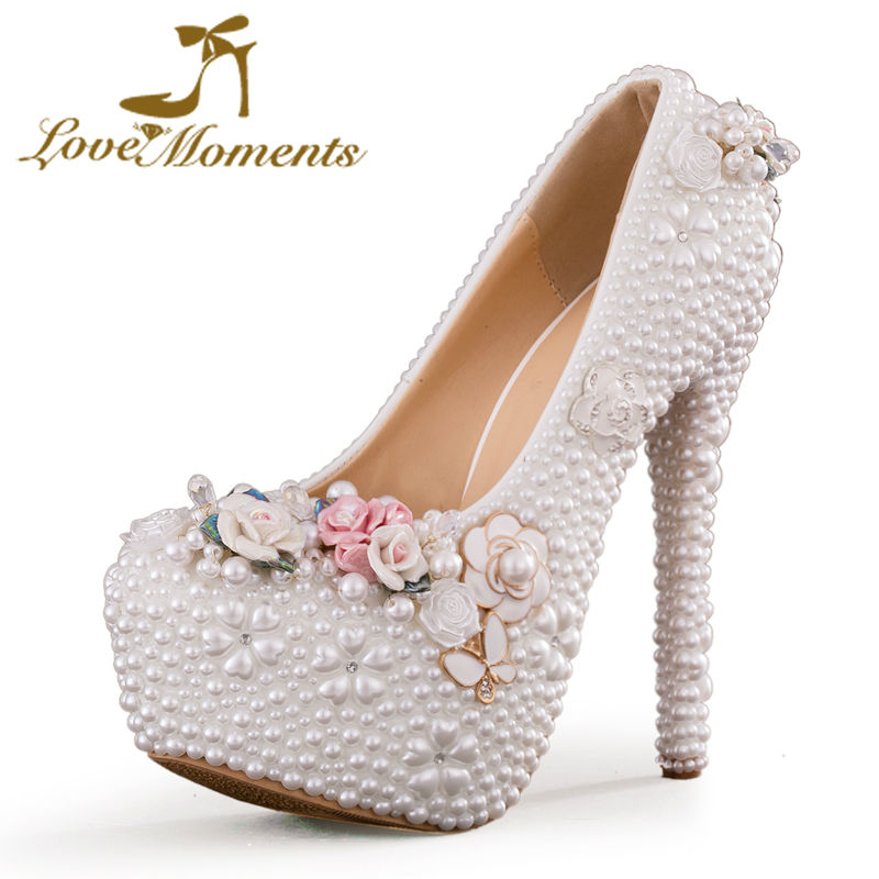 ФОТО Love Moments women shoes white pearl high heels wedding shoes bride Party dress evening ladies shoes valentine shoes