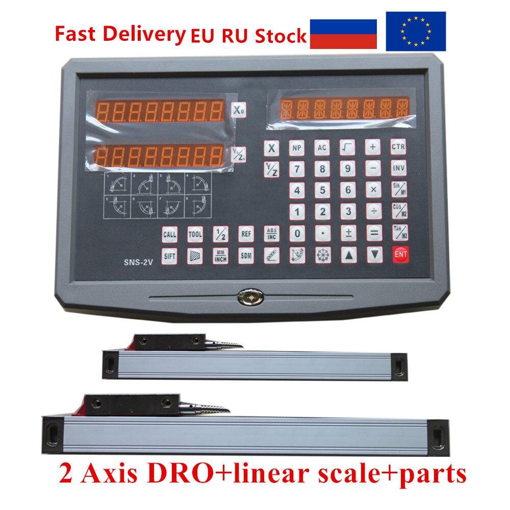 2 DRO leitura digital Eixo com 2pcs 50-1020 milímetros escala linear/linear encoder/régua linear para fresadora torno