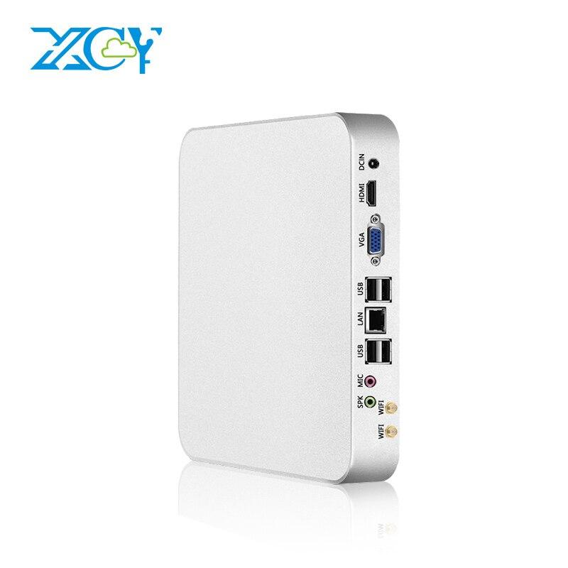 XCY Mini PC Intel Celeron N3160 Fanless Quad Core Windows 10 Mini Desktop PC HDMI VGA 300M WiFi TV BOX HTPC NUC