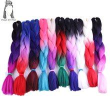 רצון עבור שיער 5 חבילות 24 אינץ 100g ombre צבע סינטטי ג מבו צמות שני טון חום עבור קולעת טוויסט שיער ביצוע