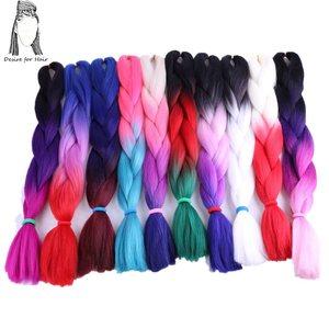 Image 1 - Deseo de pelo en paquete de 5 trenzas de color degradado tamaño gigante sintético de 24 pulgadas y 100g, dos tonos, marrón, para trenzar la fabricación del cabello