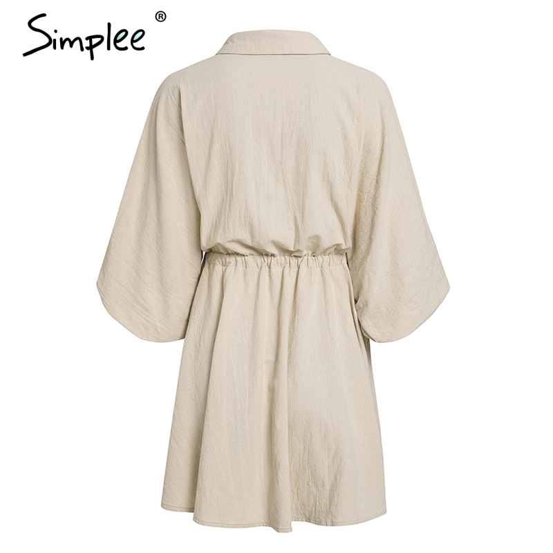 Simplee Elegant linen short shirt dress women Long sleeve cotton dress buttons female vestidos Vintage summer dresses casual 13