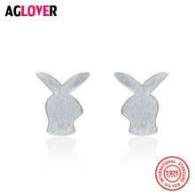 AGLOVER 100% 925 Sterling Silver Easter Day Gift Cute Rabbit Small Stud Earrings for Women Jewelry Bijoux