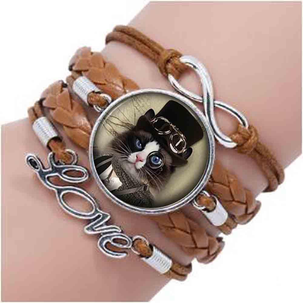Alice Wonderland Cheshire gato pequeño gatito Steampunk pulsera joyería hecha a mano de las mujeres los hombres Unisex vestido Accesorios