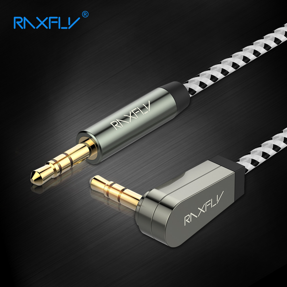 RAXFLY 3.5mm Aux Cable Jack Male to Male Audio Cable 3.5 mm 90 Degree Right Angle Flat Aux Cord for Car Headphone Speaker MP3 4