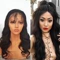 ALICROWN Cheia Do Laço Perucas de Cabelo Humano Virgem Onda Do Corpo Do Cabelo Humano cabelo Rendas Frente Perucas Mulheres Negras Perucas Do Laço Frontal Nós Descorados