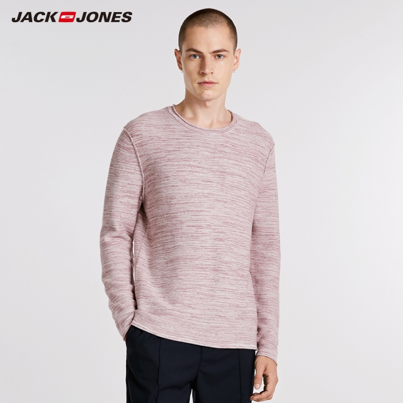 JackJones Autumn Men's Cotton Contrast Floral Sweater Round Neck Long Sleeve Sweater Top   218324512